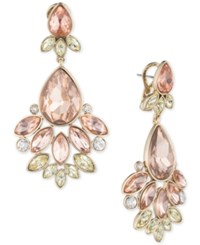 Givenchy Gold Tone Rose Crystal Chandelier Earrings