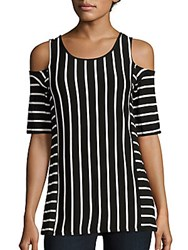 Cable And Gauge Striped Cold Shoulder Top Black White Stripe