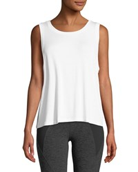 Beyond Yoga Balanced Scoop Neck Muscle Tank White