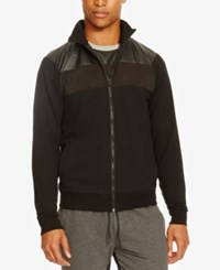 Kenneth Cole Reaction Men's Mixed Media Bomber Jacket Black