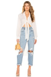 Krisa Tie Front High Low Top White