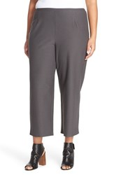 Plus Size Women's Eileen Fisher Crop Straight Leg Stretch Crepe Knit Pants Bark
