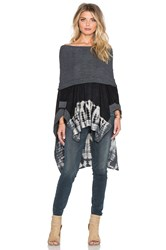 Gypsy 05 French Terry Cowl Neck Poncho Gray