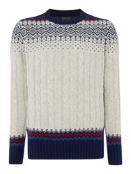 Howick Swiss Cable Fairisle Crew Neck Jumper Cloud