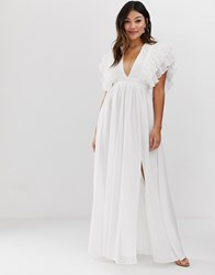 True Decadence Premium Plunge Front Maxi Dress With Shoulder Detail In White