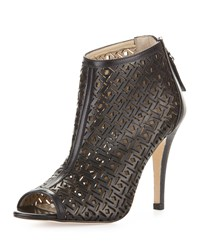 Etienne Aigner Kiva Laser Cut Leather Bootie Black