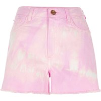 River Island Purple Tie Dye High Waisted Denim Shorts