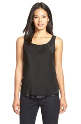 Women's Lafayette 148 New York Reversible Refined Silk Charmeuse Tank Black Navy