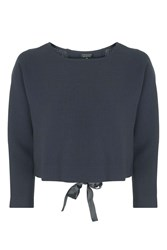 Topshop Bow Back Sweat Top Navy Blue