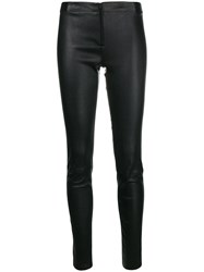 Alice Olivia Skinny Leather Trousers Black