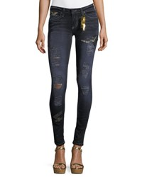 Robin's Jeans Marilyn Distressed Skinny Leg W Patches Black