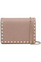 Valentino Garavani The Rockstud Textured Leather Shoulder Bag Pastel Pink