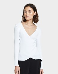 Which We Want V Neck Wrap Top In White