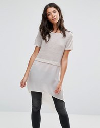 Vero Moda Juca Contrast Fabric Long Tunic Top Oatmal Cream