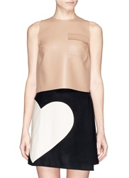Msgm Flap Pocket Sleeveless Faux Leather Top Pink