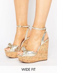Asos Traffic Jam Wide Fit Wedges Gold Metallic