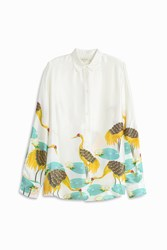 Paul And Joe Bird Print Satin Shirt Multi