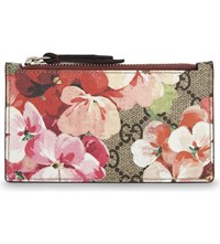 Gucci Floral Leather And Canvas Card Holder Beige Pink