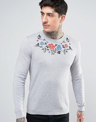 Asos Knitted Jumper With Floral Embroidery Grey