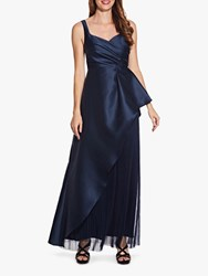 Adrianna Papell Mikado Satin Pleated Maxi Dress Midnight