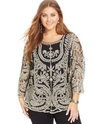 American Rag Plus Size Three Quarter Sleeve Metallic Top Classic Black