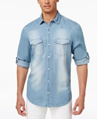 Inc International Concepts Men's Snap Front Roll Tab Denim Shirt Only At Macy's Light Wash