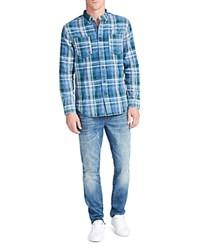 William Rast Hendrix Plaid Classic Fit Button Down Shirt Blue Green