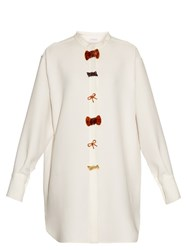 J.W.Anderson Bow Embellished Crepe Dress White