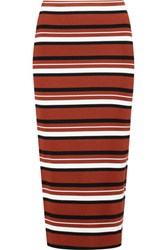 Dkny Striped Ribbed Cotton Blend Midi Skirt Claret