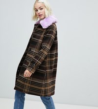 Monki Check Coat With Faux Fur Collar In Brown
