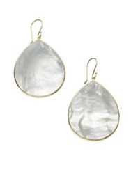Ippolita Polished Rock Candy Mother Of Pearl And 18K Yellow Gold Large Teardrop Earrings Cheetah