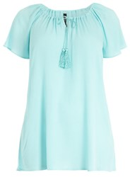 Evans Plus Size Aqua Blue Crinkle Gypsy Top
