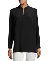 Misook Mandarin Collar Half Zip Silk Tunic Black