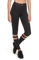 Kendall Kylie Metallic Banded Leggings Black Gold