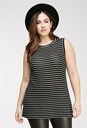 Forever 21 Striped Knit Tunic Black White