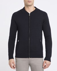 M.Studio Navy Julien Knit Bomber Jacket Blue