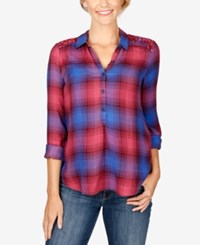 Lucky Brand High Low Plaid Blouse Purple Multi