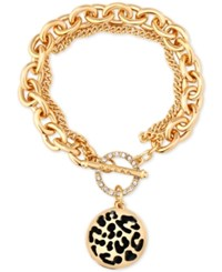 Guess Gold Tone Large Link Animal Look Charm Toggle Bracelet