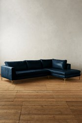Anthropologie Premium Leather Edlyn Right Sectional Navy