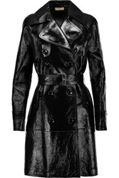 Michael Kors Collection Textured Patent Leather Trench Coat Black