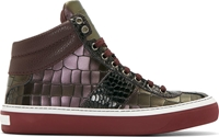 Jimmy Choo Purple And Green Iridescent Croc Embossed Blegrave Sneakers