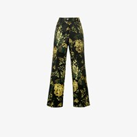 Dries Van Noten Powell Floral Print Brocade Trousers Black