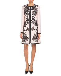 Andrew Gn Zip Front Long Sleeve A Line Floral Embroidered Coat Pink Black