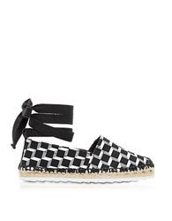 Pierre Hardy Cube Print Cotton And Leather Ankle Wrap Espadrille Multicolor