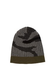 Valentino Camouflage Print Ribbed Knit Beanie Hat Grey Multi