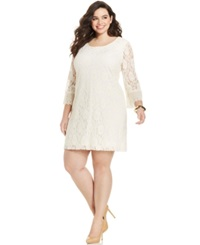 Style And Co. Plus Size Three Quarter Sleeve Lace Dress Vintage Cream