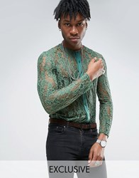 Reclaimed Vintage Lace Shirt In Reg Fit Green