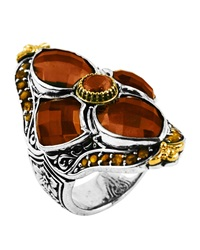 Konstantino Sterling Silver And 18 Karat Gold Flower Cognac And Citrine Ring Size 7