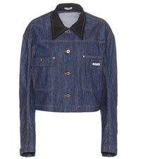 Miu Miu Mue Denim Jacket Blue