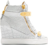 Giuseppe Zanotti White Lorenz High Top Wedge Sneakers